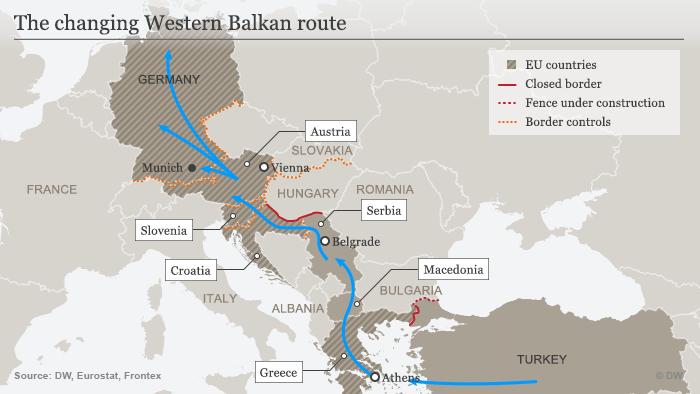 Karte Balkan Fluchtroute 20.10.2015 Englisch