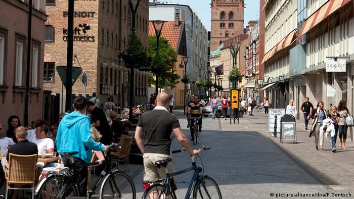 A shopping street in Malmö