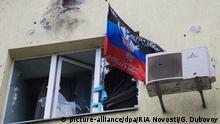 Ukraine Donezk Zerstörtes Gebäude