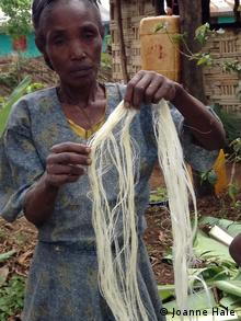 Photo: A woman holds up a bundle of fibres derived from an enset plant