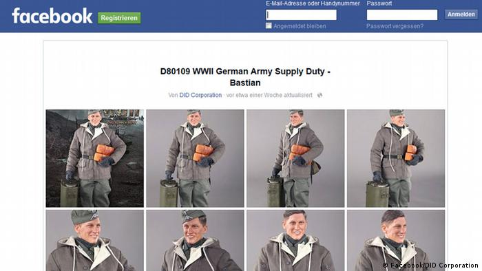 Screenshot Facebook/DID Corporation Wehrmachtsfigur Bastian Schweinsteiger