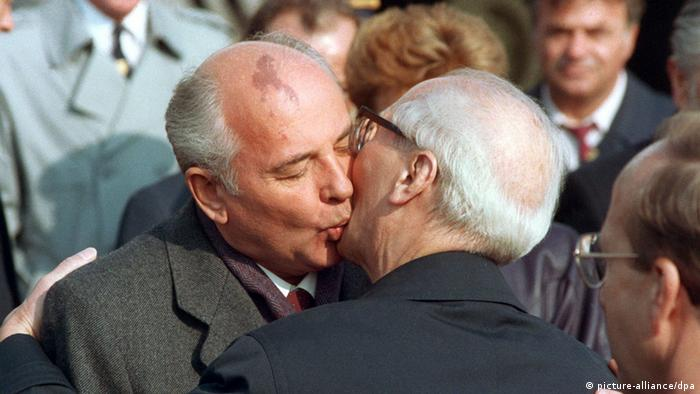 Erich Honecker greets Mikhail Gorbachev on October 6,1989 in East Berlin.