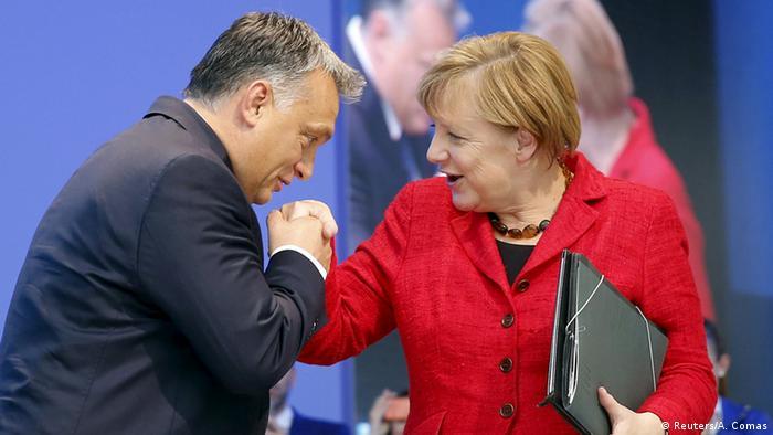 Europäische Volkspartei Madrid Angela Merkel und Viktor Orban