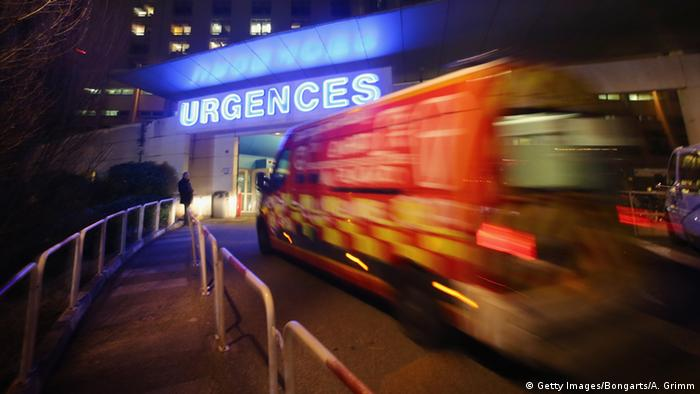 An ambulace arrives at a hospital in France