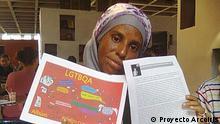 """+++ACHTUNG: Verwendung nur für den Artikel und eine Bildergalerie über die kubanische LGBT-Aktivistin Yasmín Silvia Portales.+++ Flyer des LGBTQA-Treffen """"Motivito"""", 2014, Havanna. Yasmín Silvia Portales gibt die Rechte frei auf die Bilder für Beiträge unseres Dossiers Mujeres de Batalla (Heldinnen des Alltags). als Quelle des Copyright soll ihr Projekt Proyecto Arcoiris erscheinen. +++Copyright: Proyecto Arcoiris"""