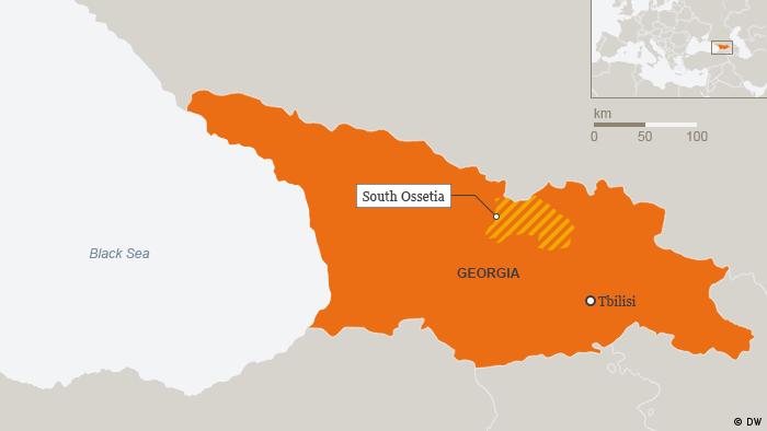 Karte Georgien Südossetien Englisch (DW)