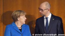 Deutschland Ukraine Merkel und Jazenjuk bei der Wirtschaftskonferenz in Berlin