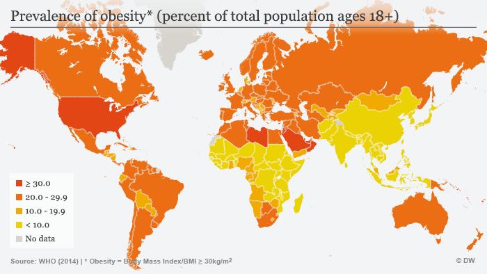Infografik Verbreitung von Fettleibigkeit weltweit Englisch