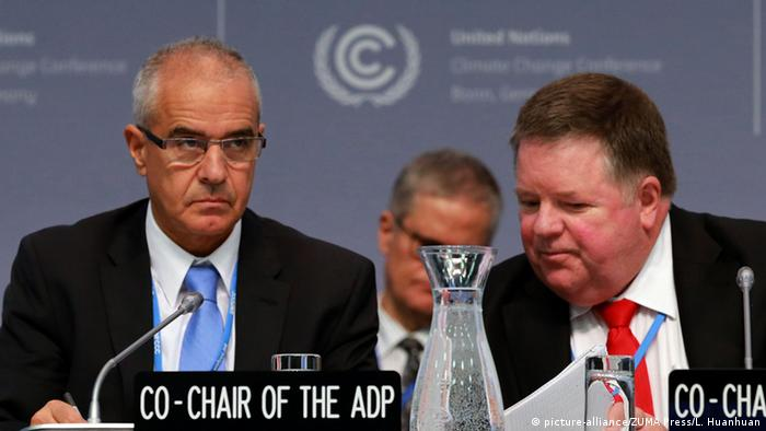 Co-chairs of the United Nations climate talks Ahmed Djoghlaf (L) and Daniel Reifsnyder (R).