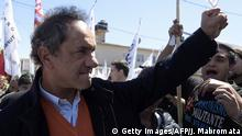 17.10.2015 Buenos Aires governor and presidential candidate for the ruling Frente para la Victoria party Daniel Scioli waves to supporters during a walk in Buenos Aires outskirts on October 17, 2015 in the 70th anniversary of Peron's Loyalty Day, during a political rally for the upcoming general elections to be held on October 25. The Loyalty Day remembers October 17, 1945 labor demonstration in demand of Juan Domingo Peron's liberation. Copyright: Getty Images/AFP/J. Mabromata