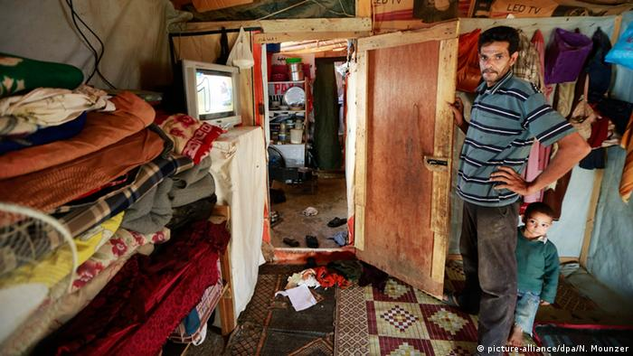 Syrian refugee Mohamed Rached in his tent at Faydha refugee camp east of Lebanon