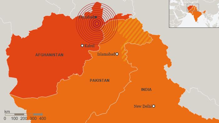 Karte Erdbeben Afghanistan 26.10.2015 Englisch