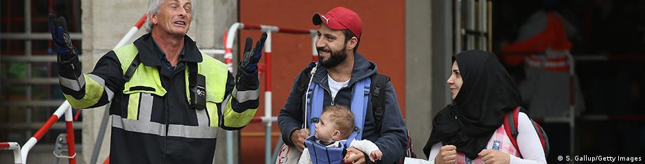 refugees at German trainstation