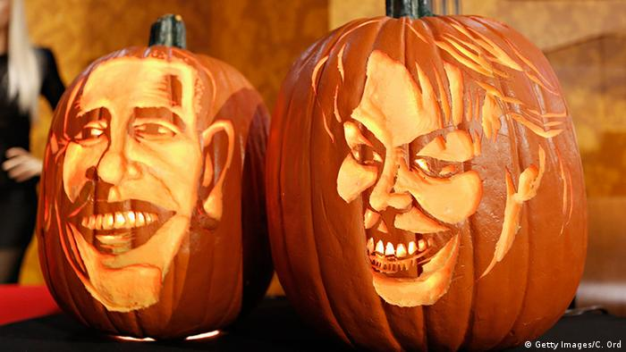 President Barack Obama and First Lady Michelle Obama's faces on pumpkins at Madame Tussauds New York (Getty Images/C. Ord)