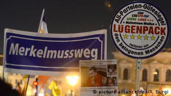 Демонстрация сторонников движения Pegida в Дрездене