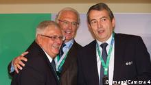 From left to right: Theo Zwanziger, Franz Beckenbauer, Wolfgang Niersbach. Archive photo from 14.10.2009. (Imago/Camera 4)