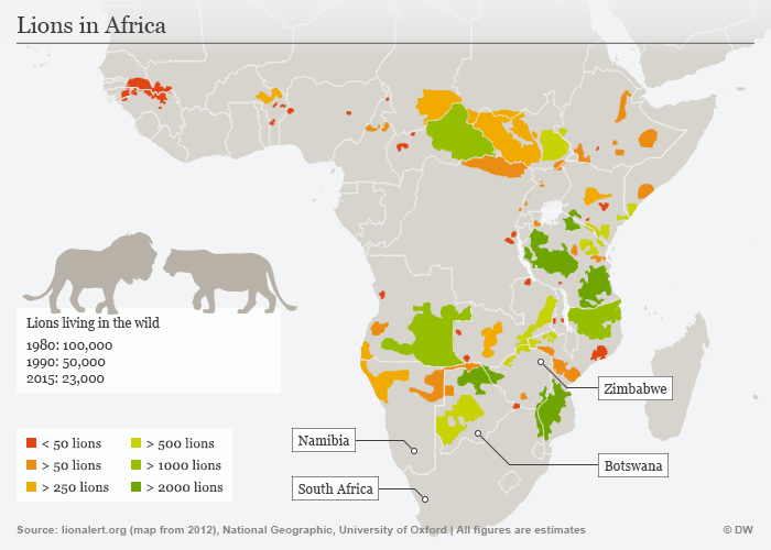 Illustration of lion populations in Africa