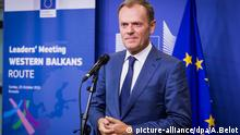 October 25, 2015Donald Tusk, President of the EU Council, at the mini-Summit in Brussels, Belgium, on October 25, 2015. (Photo by Aurore Belot/NurPhoto) Keine Weitergabe an Drittverwerter. picture-alliance/dpa/A.Belot