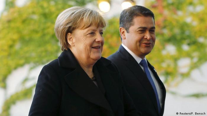 Angela Merkel recibió a Juan Orlando Hernández, presidente de Honduras, en Berlín.