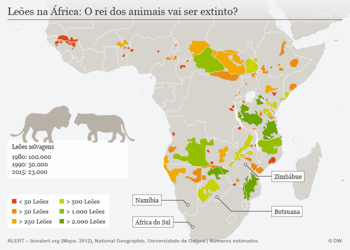 Infografik Löwen von Aussterben bedroht Portugiesisch