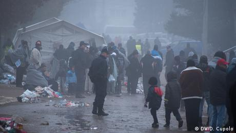 Crowds of people at Presevo Refugee Camp