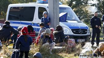 Refugees at the Austrian-German border