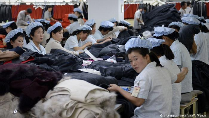 Garment industry workers in North Korea's Kaesong industrial complex