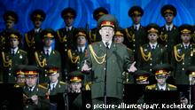 epa04195658 Soloist Vladislav Golikov sings during concert of the Academic Song and Dance Ensemble of the Russian Army in Moscow, Russia, 07 May 2014. The concert commemorates the victory of the Soviet Union's Red Army over Nazi-Germany in WWII. EPA/YURI KOCHETKOV