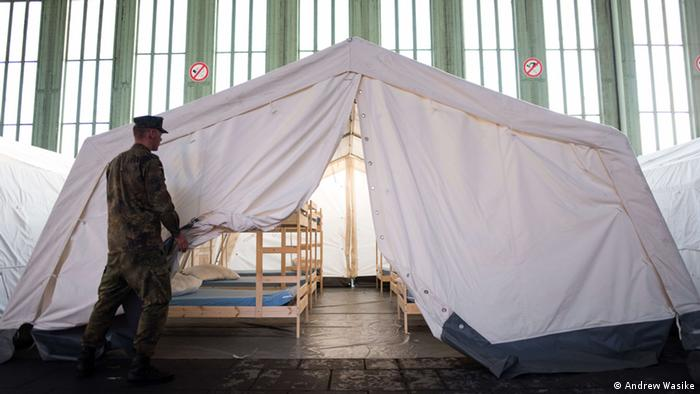 White tent for refugees in Berlin