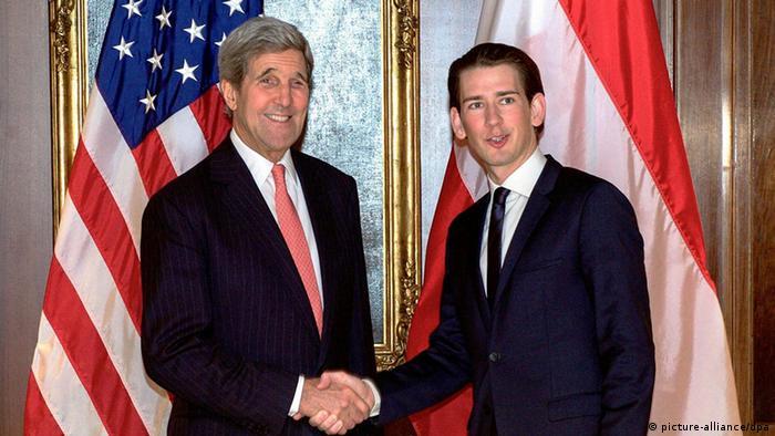 John Kerry und Sebastian Kurz in Wien Österreich