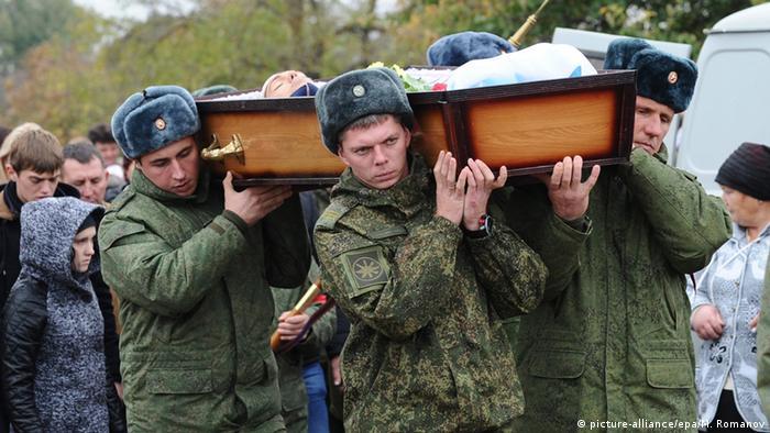 تشییع جنازه سرباز روس، وادیم کوستنکو، که در ماه اکتبر ۲۰۱۵ سوریه کشته شد