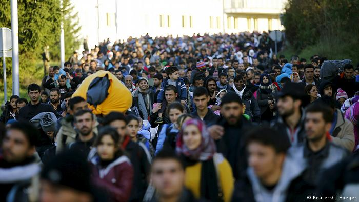 Refugees walking to Austria from Slovenia in October 2015