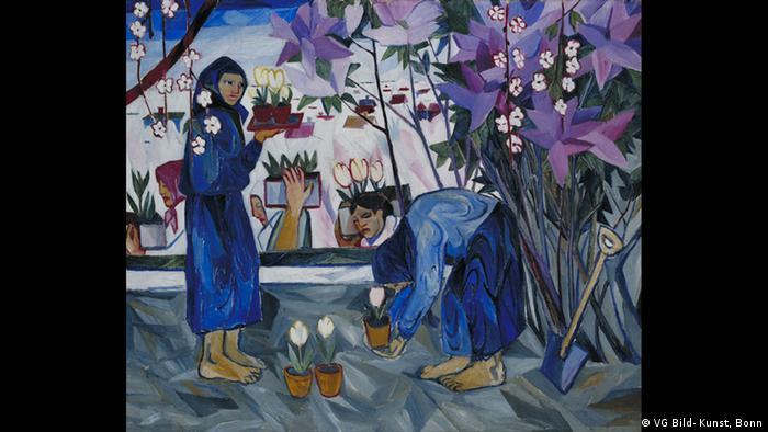 Наталья Гончарова, Работа в саду, 1908 год.
