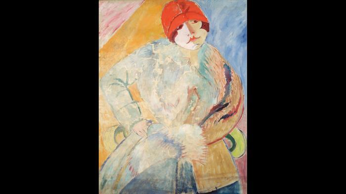 Сигрид Хьертен, Женщина в меховом пальто и красной шляпе, 1915 года.