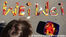 Melbourne Ai Weiwei Lego Sammelaktion Schriftzug