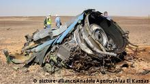 10.11.2015 *** SUEZ, EGYPT - NOVEMBER 01: A plane part is seen as the Egyptian officials inspect the crash site of Russian Airliner in Suez, Egypt on November 01, 2015. A Russian Airbus-321 airliner with 224 people aboard crashed in Egypt's Sinai Peninsula on yesterday. According to Egypt's Civil Aviation Authority, the plane had been lost contact with air-traffic controllers shortly after taking off from the Egyptian Red Sea resort city of Sharm el-Sheikh en route to St Petersburg. Alaa El Kassas / Anadolu Agency