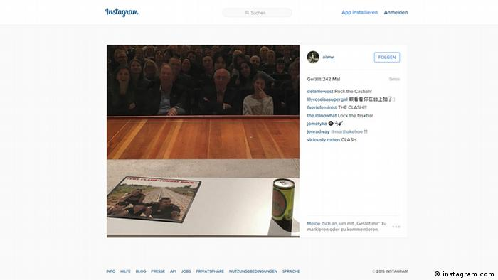 Screenshot des Instagram-Accounts von Ai Weiwei