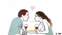 Eine Zeichnung eines Pärchens, das bei Tisch sitzt und sich eine Nudel teilt.