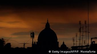 Silhouette of St. Petere's Basillica - at The Vatican.