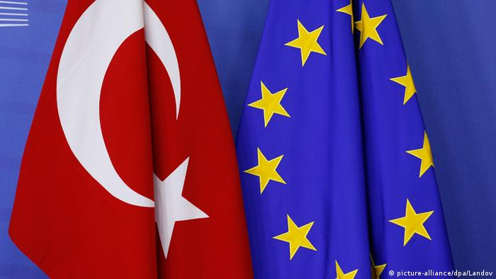 The flags of Turkey and the EU at the European Commission headquarters