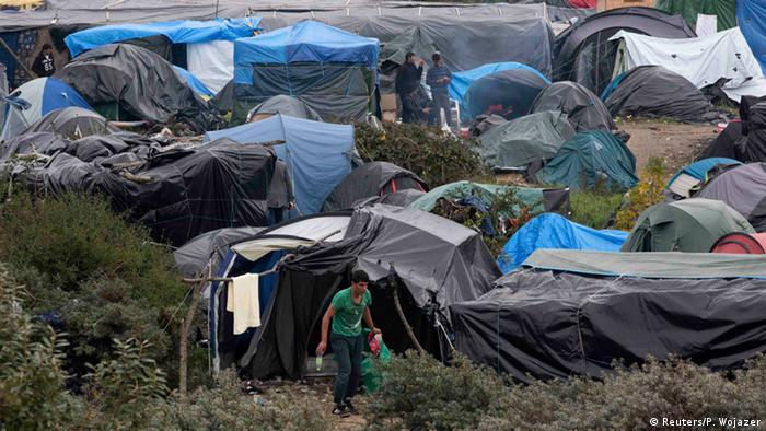 Apart from container sheltes, migrants at the Calais camp had to often live in squalid tents which offered little protection from rough weather.