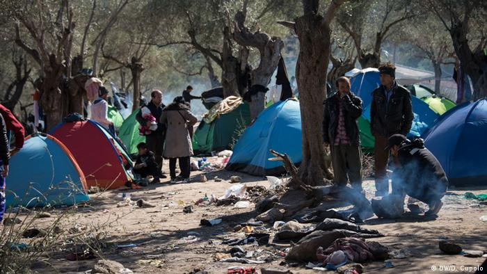 Refugees stand and sit near tents pitched in between olive trees