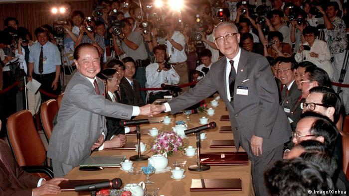 Singapur Treffen Wang Daohan und Koo Chen-Fu (Imago/Xinhua)