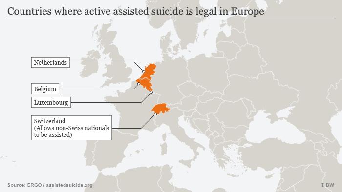 Infografik Tötung auf Verlangen in Europa Englisch