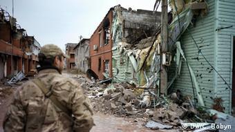 Destroyed houses in eastern Ukraine