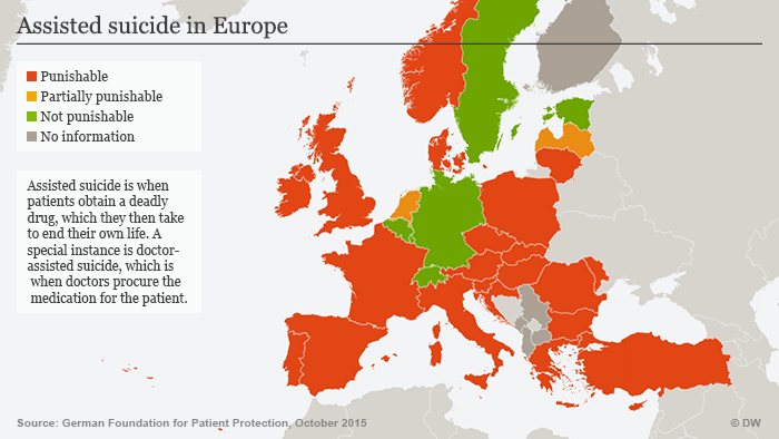 Infografik Beihilfe zum Suizid Europa Rechtslage Englisch