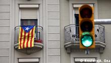 Separatist flag on a building in Barcelona
