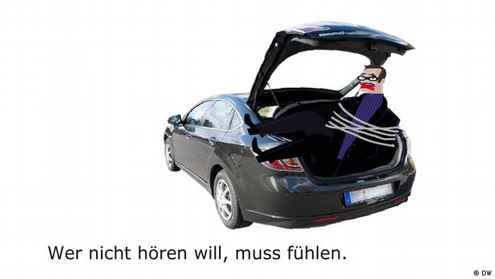 8. Wer nicht hören will, muss fühlen. If you don't listen, you'll have to feel it. He that will not hear must feel.