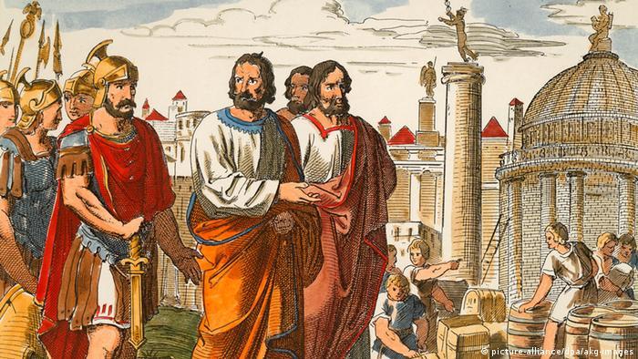 Аугсбург во времена Римской империи. Гравюра 1850 года
