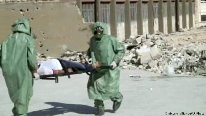 Aleppo Syrien Chemiewaffen Videostill 2013 Übung Trainingsvideo (picture-alliance/AP Photo)
